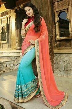 Kajal Agarwal New Indian Bollywood Designer Georgette Embroidered Saree/Sari/ Chiffon Saree, Saree Dress, Georgette Sarees, Georgette Fabric, Silk Dress, Mehndi, Henna, Beau Sari, Indische Sarees