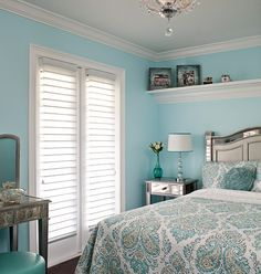 LOVE this bedroom color...love the idea of a shelf above the bed.  Looks so clean, neat, and sophisticated!