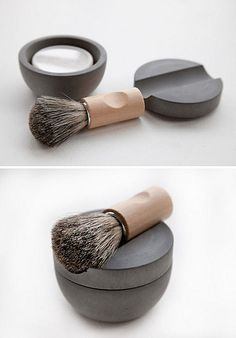 A shaving dish made from soft concrete, shaving soap, and a traditional beech brush with badger hair bristles, designed by Lovisa Wattman for the Swedish company Iris Hantwerk. Iris Hantwerk employs visually impaired craftspeople to create beautiful handmade brushes.