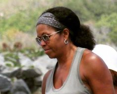 Michelle Obama photographed with her #naturalhair Michelle Obama pictured on holiday with her natural hair. photo appearing to show Michelle Obama with her natural hair has gone viral after appearing on #socialmedia this week. April 3, 2017 Throughout her time as First Lady Mrs Obama kept her hair straightened. News that she has seemingly allowed it to return to its natural state prompted intense excitement among her admirers on #Twitter #MichelleObama #FirstLady #NaturalHair