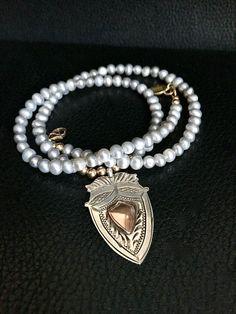 Keepsake Necklace Grey Pearl Necklace Silver Fob by FribblePistol