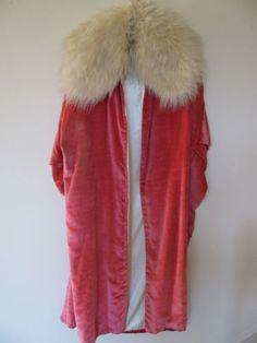 Vintage 1920s Deco Pink Velvet Cocoon Opera Coat Erte' Mongolian Sheep Collar