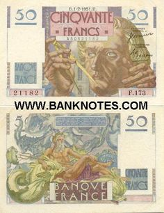 France 50 Francs 1946-1951  Obverse: French mathematician and astronomer Urbain-Jean-Joseph Le Verrier (1911-1877) holding a calliper; Paris Observatory. Reverse: Neptune - Roman God of the Sea, with two dolphins; Neptune, the eighth planet from the Sun, discovered on 23rd of September 1846 - Capricorn and Aquarius symbolizes the discovery of Neptune; Six-pointed stars (hexagrams); Two red curves indicate the plane of the ecliptic and celestial equator.