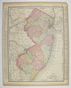 Antique New Jersey Map Vintage Pennsylvania Map State County Original 1896 Unique Travel Gift Under 20 Christmas Gift for Home Office by OldMapsandPrints