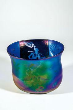 ** Bertil Vallien (Swedish, 1938), Glass Bowl with Sand Blasted Decoration.