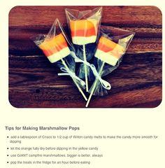 Fun Candy Corn Dipped Marshmallow Pops ! Great Treat For Halloween Parties !