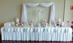 white/pink and silver wedding lolly buffet done by Candy Kisses lolly Bar