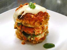 Sauteed Eggplant with Panko,Italian Tomato Sauce, Mozzarella and Fresh Basil all oven-baked to complete the dish :)