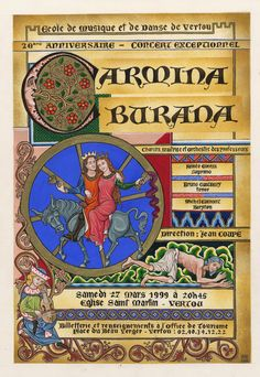 Poster making for announce a concert of Carmina Burana of Carl Orff , inspired by german manuscripts circa Carmina Burana Renaissance Music, Medieval Music, Carl Orff, Romanesque Architecture, Chor, Poster Making, Concert Posters, Classical Music, Middle Ages