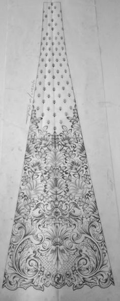 Flower fashion Border Embroidery Designs, Embroidery Motifs, Types Of Embroidery, Machine Embroidery Patterns, Embroidery Fashion, Beaded Embroidery, Anarkali, Lehenga, Saree Painting Designs