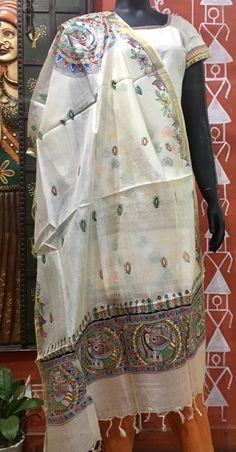 Madhubani Art, Madhubani Painting, Art Object, Fabric Painting, Lehenga, Folk Art, Hand Weaving, Objects, Fabrics