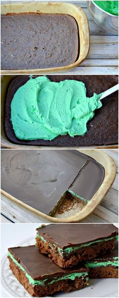 Looking for an easy dessert recipe? This chocolate mint brownie recipe looks fancy, but it& an easy layered mint dessert! Mint Desserts, Easy Desserts, Dessert Recipes, Chocolate Mint Brownies, Chocolate Desserts, Chocolate Cupcakes, Dessert Simple, Brownie Recipes, Dessert Bars