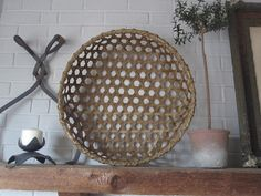 This large sized version of the Shaker Cheese Basket is a reproduction that I have woven from reed. Historically, this type basket was used Basket Weaving, Hand Weaving, Cheese Baskets, Paint Thinner, Shaker Furniture, Cheese Cloth, How To Make Cheese, Primitive Decor, Rug Hooking