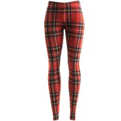 Fashionomics Red Plaid Leggings ($12) ❤ liked on Polyvore featuring pants, leggings, red trousers, plaid pants, tartan pants, plaid trousers and red plaid pants