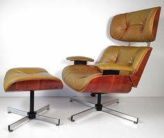 Vintage Mid Century Modern Plycraft Lounge Chair & Ottoman - Eames Frank Doerner