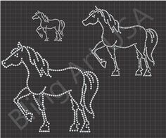 Rhinestone Horses Download File Template Pattern Art Bling SVG EPS PLT Pink Stone Stencil Sticky Fock Easy Color