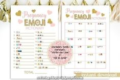 Glitter Emoji Pregnancy Pictionary ~ Pink and Gold Baby Shower ~ Baby Girl Hearts ~ Printable Game Fun Baby Shower Games, Baby Shower Themes, Shower Baby, Emoji Pictures, Emoji Coloring Pages, Gold Baby Showers, Photo Frame Prop, Baby Shower Printables, Pink And Gold