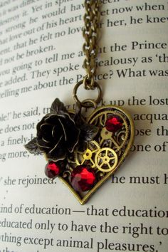 Steampunk Heart Necklace (N167) - Victorian Brass Heart Pendant on Chain - Gears and Brass Rose - Swarovski Crystals on Etsy, £15.00