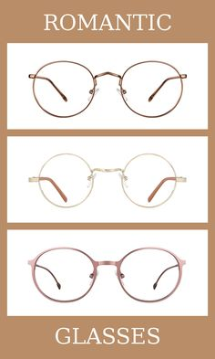 3 Pairs of Glasses for the romantic body type, one of thirteen Kibbe body types. Romantics are the most feminine, on the extreme yin end of the spectrum.  The glasses that suit them the most are simple, rounded, and made from a shiny material. Learn more about the Kibbe body types at cozyrebekah.com