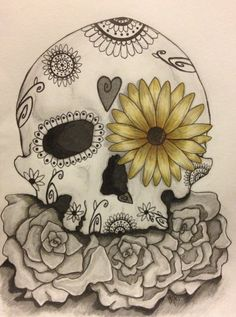 Sugar skull sketch by gigibecker on DeviantArt