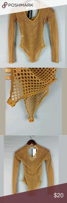 New Boohoo Alex Fishnet Mesh Caramel Tan Bodysuit Measurements/condition are in the pics. Let me know if you have any questions! Boohoo Other