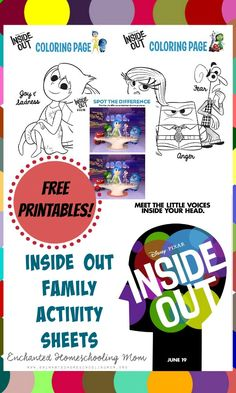 Get some FREE family fun with these family friendly printables from Inside Out! Movie Inside Out, Disney Inside Out, Family Therapy, Play Therapy, Art Therapy, Coping Skills, Social Skills, Therapy Activities, Activities For Kids