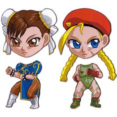 Etsy user Mary Jenkins' Cosplay Scramble Magnets allow you to switch your fandom's faces: Street Fighter Chun-Li and Cammy