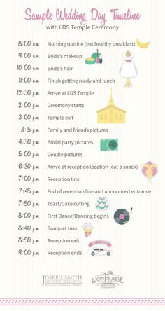 Wedding Checklist how to build your wedding day timeline lds temples timeline and temple Wedding Checklist Timeline, Wedding Reception Timeline, Wedding Planning Checklist, Budget Wedding, Wedding Tips, Event Planning, Wedding Beauty, Wedding Venues, Wedding Inspiration