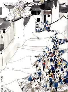 A market day in South of Yangtze River, by Wu Guanzhong Ink Painting, Watercolor Art, Wu Guanzhong, Pix Art, Chinese Drawings, Art Chinois, Chinese Landscape, China Art, Traditional Paintings