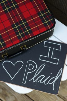 I Heart Plaid | Vintage Suitcase Red Plaid by wheelandbasket on Etsy