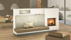 Moderner Kachelofen mit Sichtfenster und Keramik mit Tapetenoptik Home Fireplace, Küchen Design, Boat, Living Room, Home Decor, Tiling, Tile, Fireplace Remodel, Building Homes