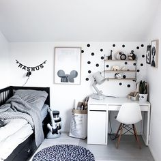 B O Y S R O O M  #myhome #bedroom #mysonsroom #blackandwhite #wood Love his new mouse poster from @catcooee and the panda facepot from @myfacepot