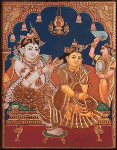 Tanjore Radha Krishna Painting Mysore Painting, Kerala Mural Painting, Tanjore Painting, Krishna Painting, Indian Art Paintings, Krishna Art, Radhe Krishna, Krishna Lila, Krishna Images