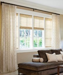Window ideas for living room curtains round 3 windows for Smith and noble bamboo shades