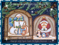 CC128 - Snowman and Santa Pegboard - Painting E Pattern - pinned by pin4etsy.com