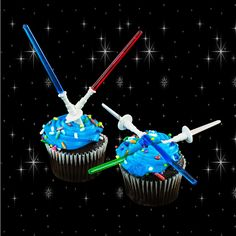 """Amazon.com: Star Wars Inspired Design Light Sabre Cupcake Decoration Toppers Sticks Picks Set for Children Birthday Party, Fan Shows, Movies, 4"""" inches Tall (12 Pack): Kitchen & Dining"""