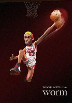 DENNIS RODMAN aka WORM  #basketball #nba #illustration