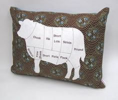 Cow Meat Chart Pillow Free Shipping by GoBuggyGo on Etsy, $30.00