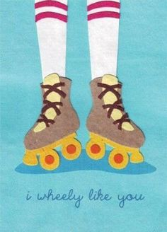 """I Wheely Like You"" Handmade Card - purchases directly supports young adults orphaned by disease & genocide in Rwanda. #ValentinesDay #GiveBack #rollerskating #rollerderby #handmade #charity #cause #fairtrade"