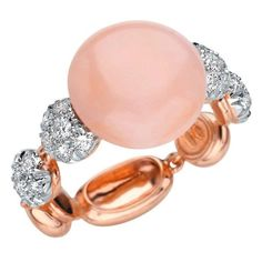 Chantecler of Capri Pink Coral and Diamond Ring