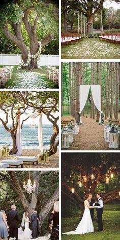 Outdoor Wedding Ceremony Under A Tree | Wedding Ideas