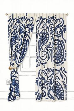 I need some blue and beige curtains for our living room and kitchen. These are just lovely!