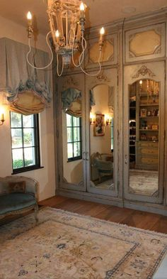 53 Elegant Closet Design Ideas For Your Home. Unique closet design ideas will definitely help you utilize your closet space appropriately. An ideal closet design is probably the only avenue . French Country Rug, French Country Bedrooms, French Cottage, French Decor, French Country Decorating, Country Bathrooms, French Style, French Bedroom Decor, Country Kitchen