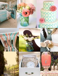 aqua and coral!! so gonna be my wedding...