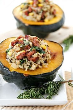 This roasted acorn squash stuffed with wild rice is the perfect dish for fall entertaining. #justaddrice #ad