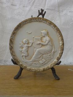 Lefton Japan collectible plate wall hanging decor angel playing harp cherub ivory gold 1249