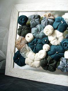 OOAK Fabric flower wall art  blue cobalt grey white  3D by mapano, €30.00