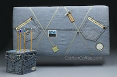 Repurpose Old Jeans to Make a Bulletin Board & Pencil Cube (And an update on the giveaways) | Crafts 'n Coffee
