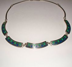 Vintage Malachite Lapis Turquoise Alpaca Silver Necklace Choker Mexican Jewelry Tribal Mexico on Etsy, $28.00