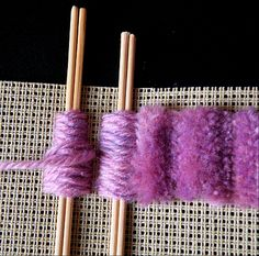 Victorian Fun-Fur. Count three more holes from the outer layer, and then put a pair of sticks over the next two threads. Work the next unit, exactly like the first.  Continue working further units in the same way. When you have enough units, take a sharp pair of scissors and cut all the yarn between the sticks, like cutting a pom-pom. Lift out the sticks. Fluff up the pile, and there you have your Victorian fun-fur stitch.